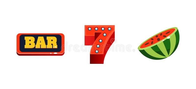 老虎机五颜六色的标志、比赛用户界面元素计算机的或流动比赛导航例证 皇族释放例证