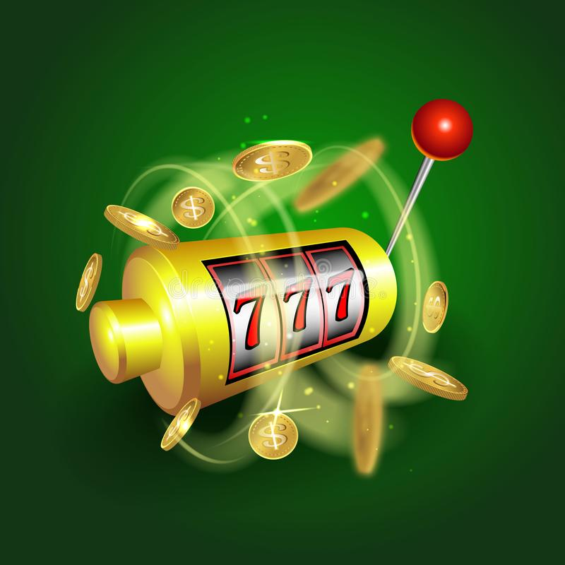 老虎机幸运的sevens困境概念777 传染媒介赌博娱乐场比赛 有金钱硬币的老虎机 皇族释放例证