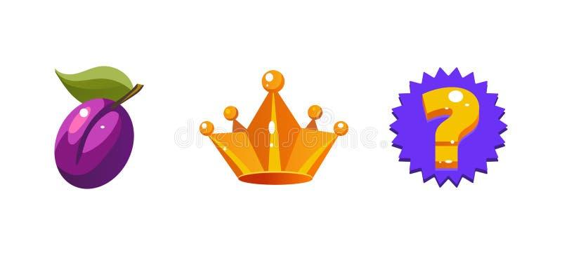 老虎机标志、李子果子、冠、问题标志、比赛用户界面元素计算机的或流动比赛传染媒介 向量例证
