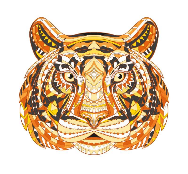 老虎的详细的被仿造的头 非洲印地安图腾种族部族阿兹台克设计 在难看的东西背景 它可以 向量例证