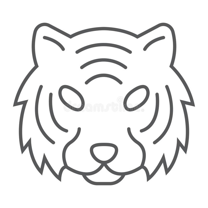 老虎稀薄的线象,动物和动物园,猫标志 皇族释放例证