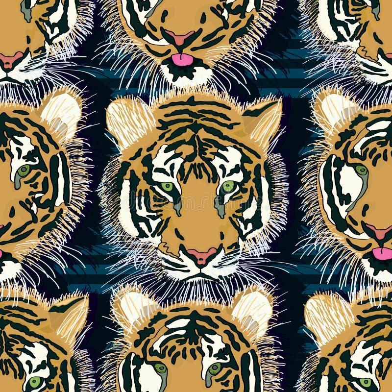 老虎舌头无缝的样式 皇族释放例证