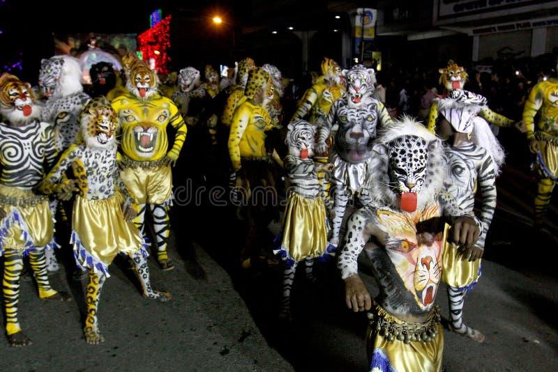 老虎舞蹈队伍 免版税图库摄影
