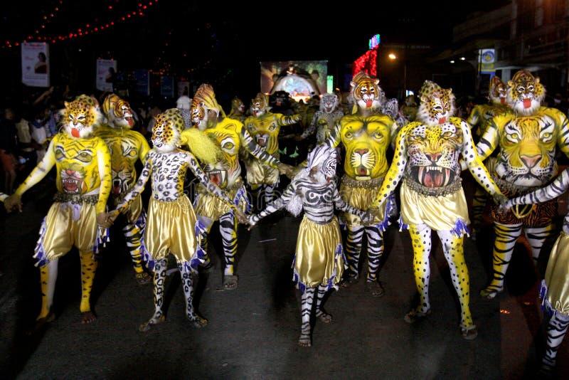老虎舞蹈队伍 库存图片