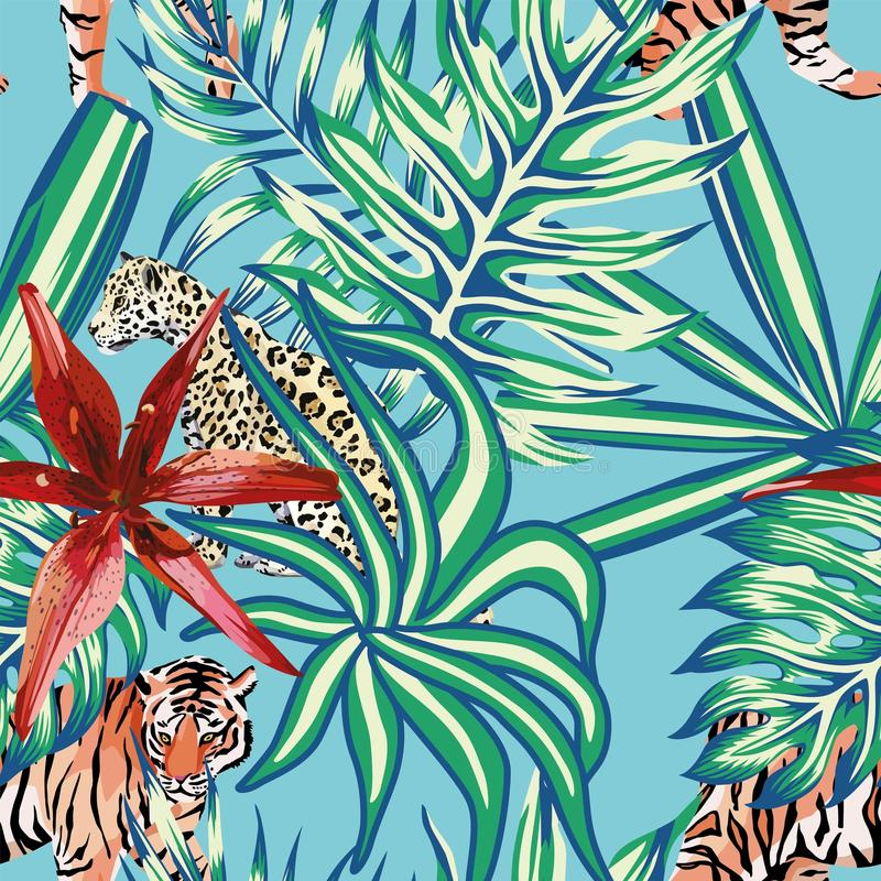老虎豹子热带叶子百合无缝的背景蓝色 库存例证