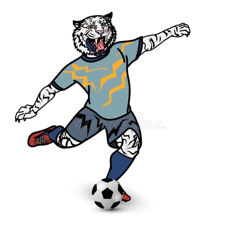 老虎足球选手踢在白色背景的橄榄球 皇族释放例证