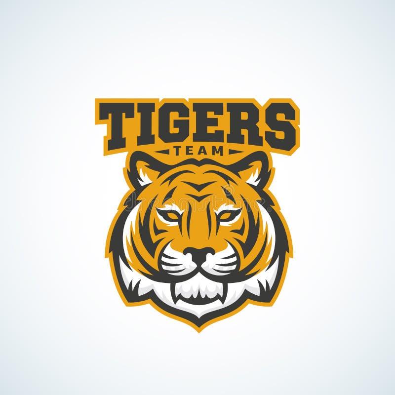 老虎队摘要传染媒介标志、象征或者商标模板 经典体育吉祥人标签 食肉动物的动物面孔与 向量例证