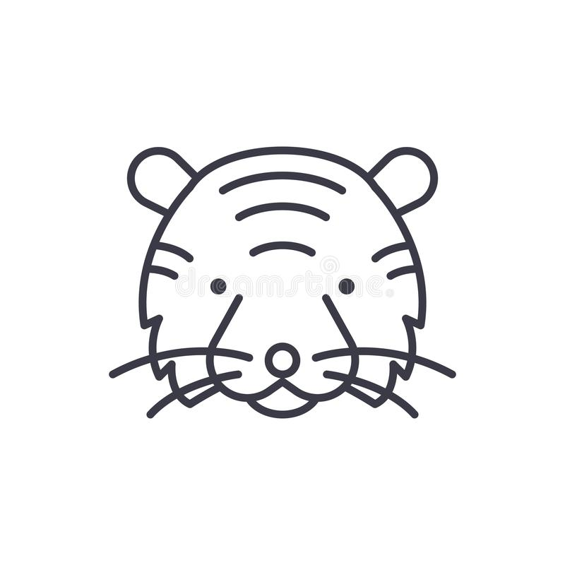 老虎顶头传染媒介线象,标志,在背景,编辑可能的冲程的例证 皇族释放例证