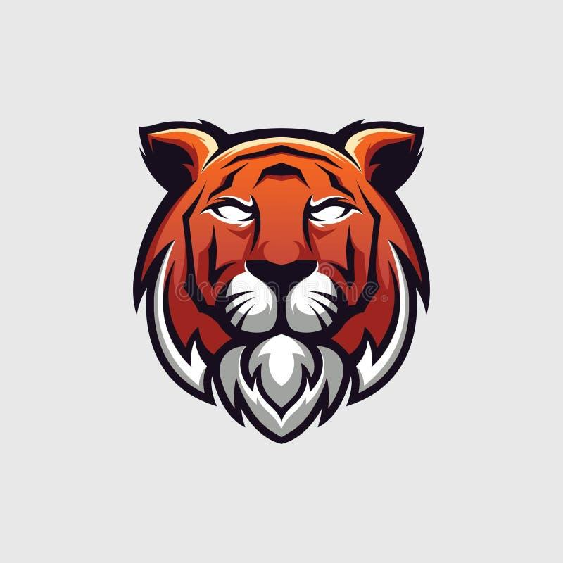 老虎顶头商标的例证,商标模板,象征的和所有需要的 库存例证
