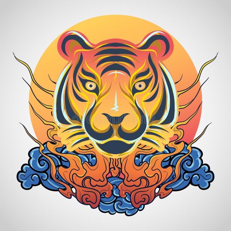 老虎顶头纹身花刺商标象设计,传染媒介 免版税库存照片