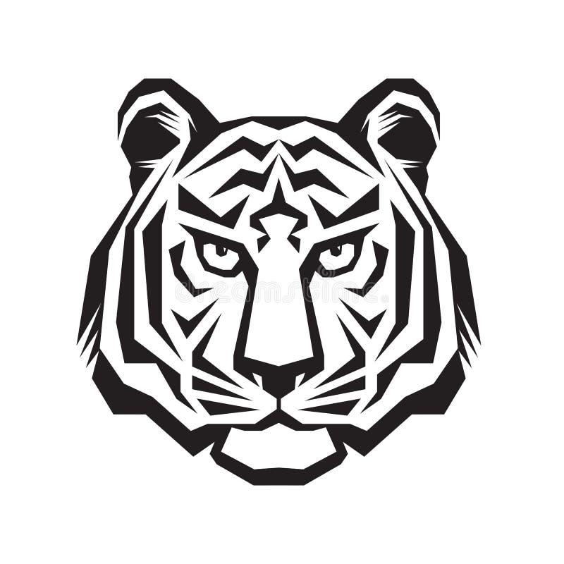 老虎顶头剪影标志 老虎顶头纹身花刺艺术 向量例证