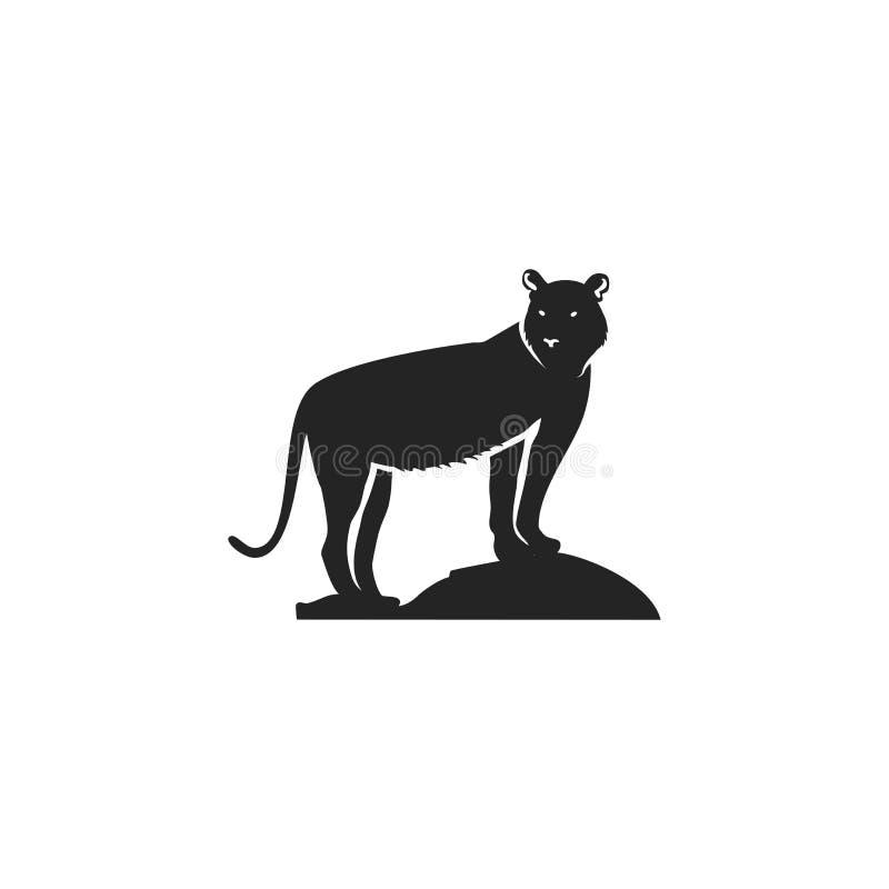 老虎黑象 现出轮廓在白色背景隔绝的老虎的标志 略写法模板的野生动物图表 库存例证