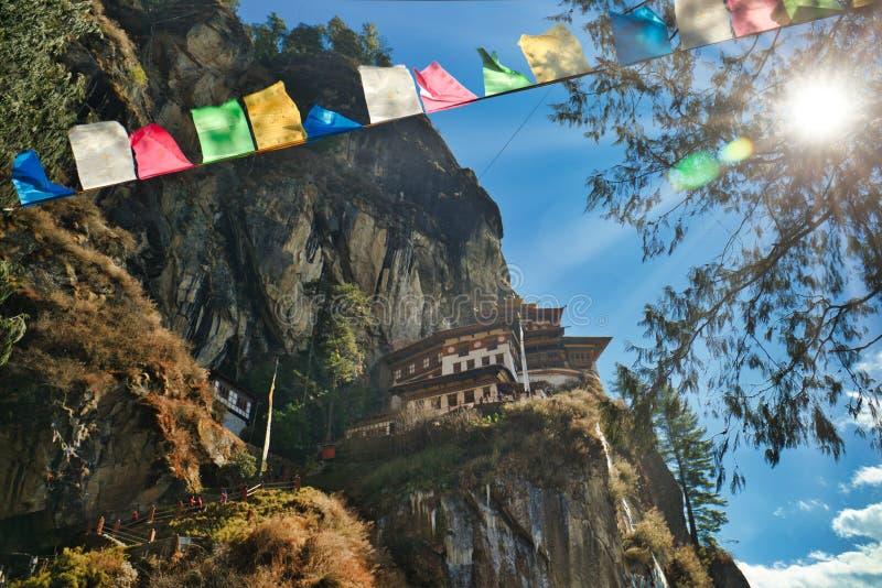 老虎` s巢在Paro,不丹 免版税库存照片