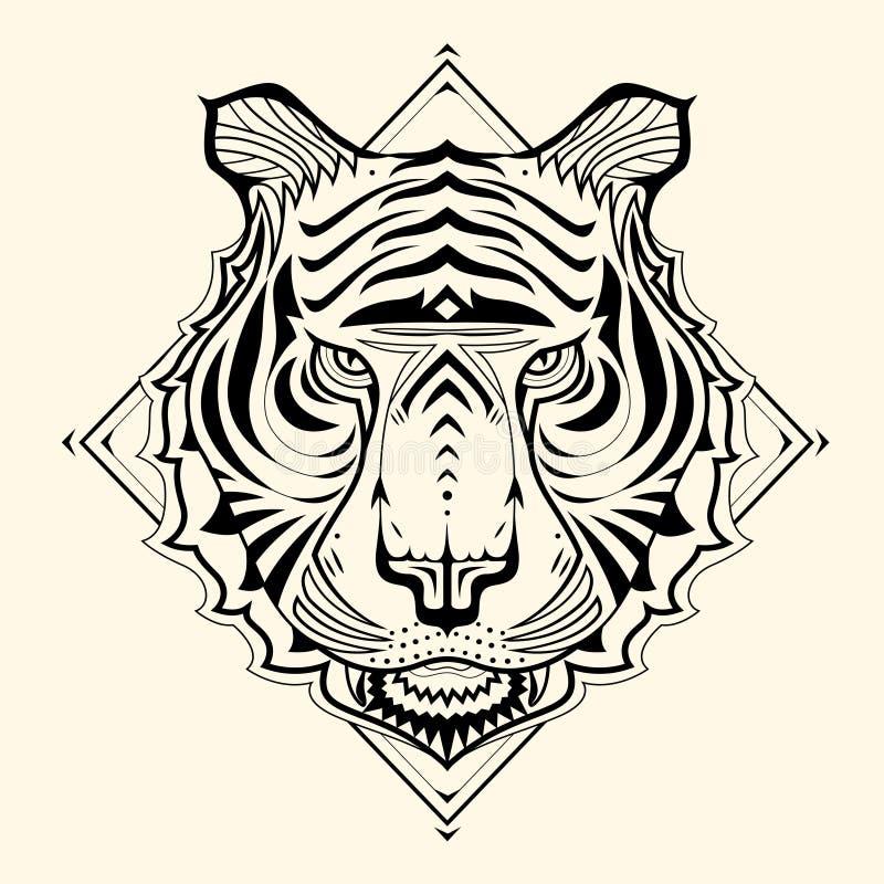 老虎Zentangle 向量例证