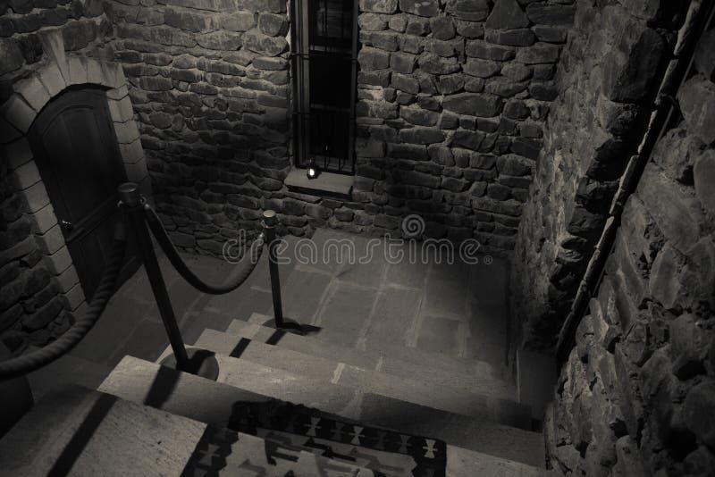 老蠕动的被放弃的豪宅的里面 楼梯和柱廊 对地下室的黑暗的城堡台阶 鬼的土牢石头台阶i 免版税图库摄影