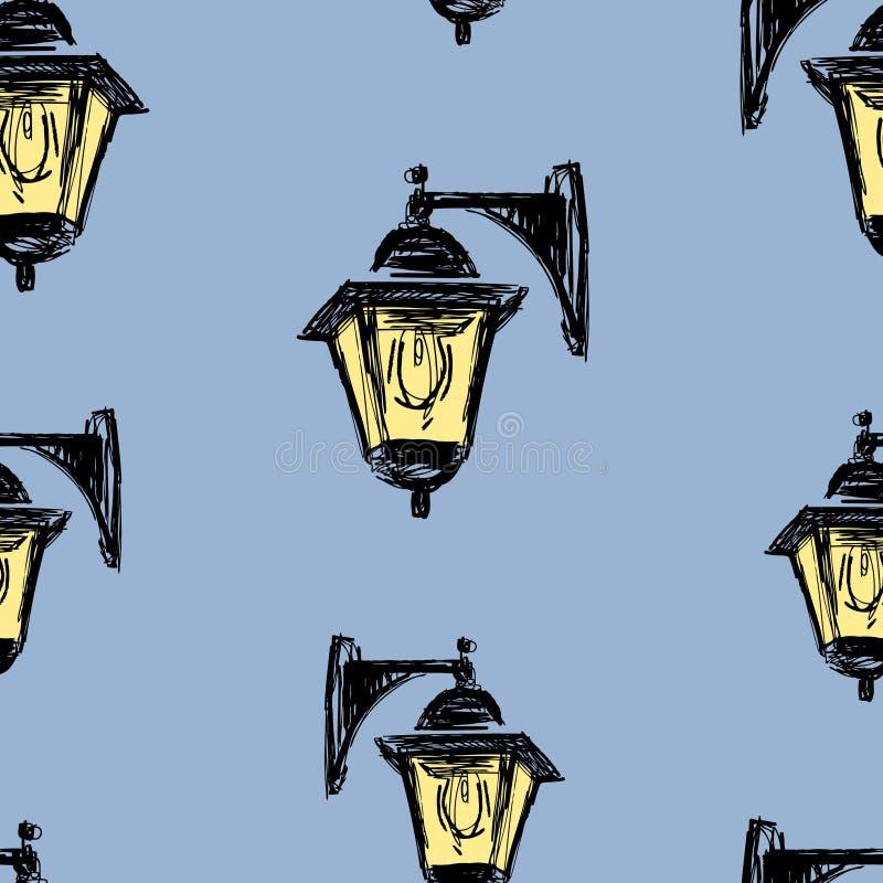 老街灯剪影无缝的背景  皇族释放例证