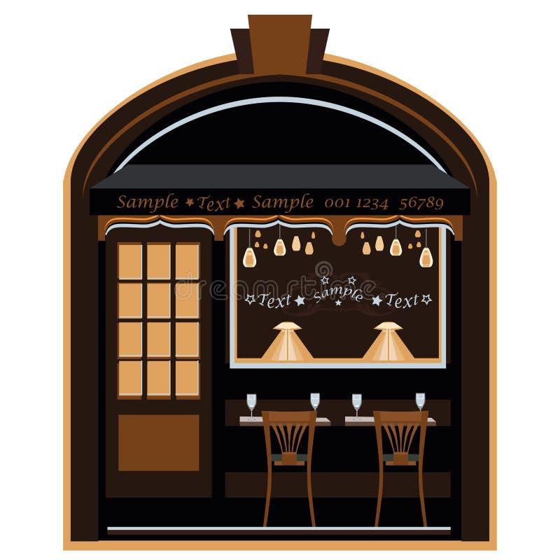 老街道咖啡馆在晚上 皇族释放例证