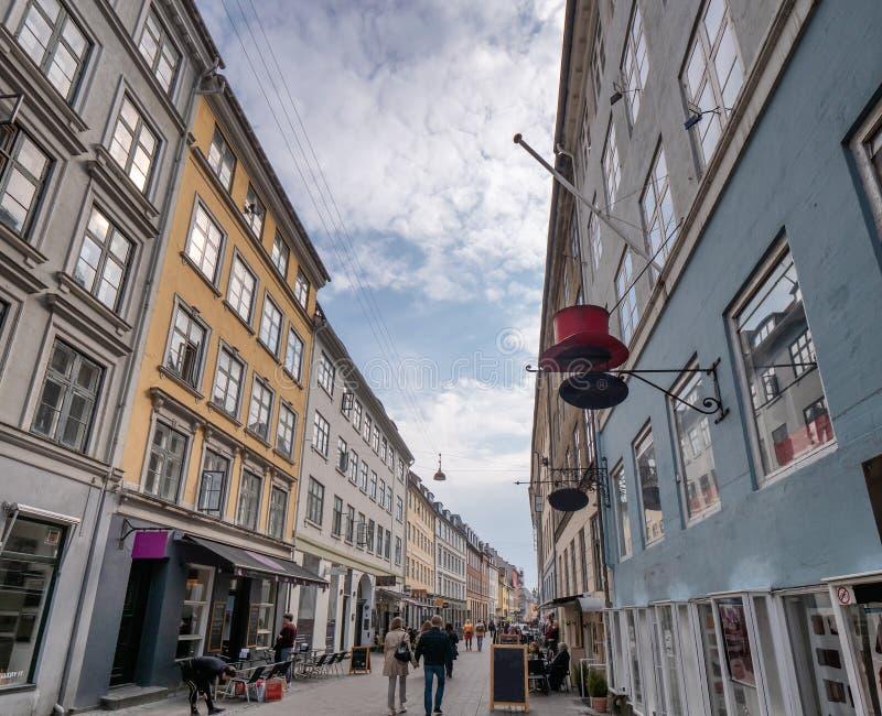 老街道在哥本哈根中部,丹麦 库存图片