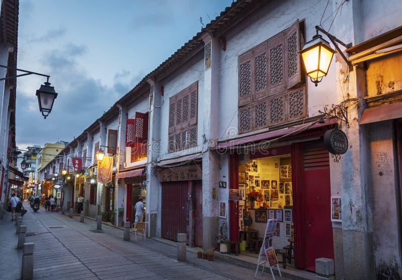 老街道在澳门,中国 免版税库存图片