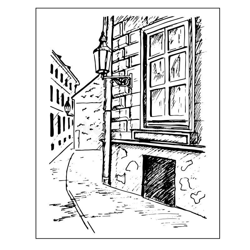 老街道城镇 窗口和灯笼 手拉的草图 库存例证