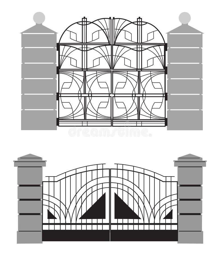 老街道门剪影  向量例证