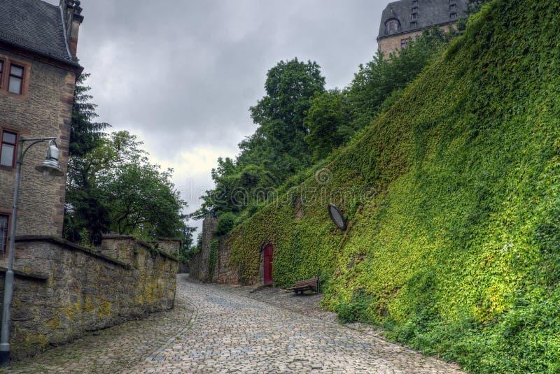 老街道,马尔堡,德国 免版税库存照片