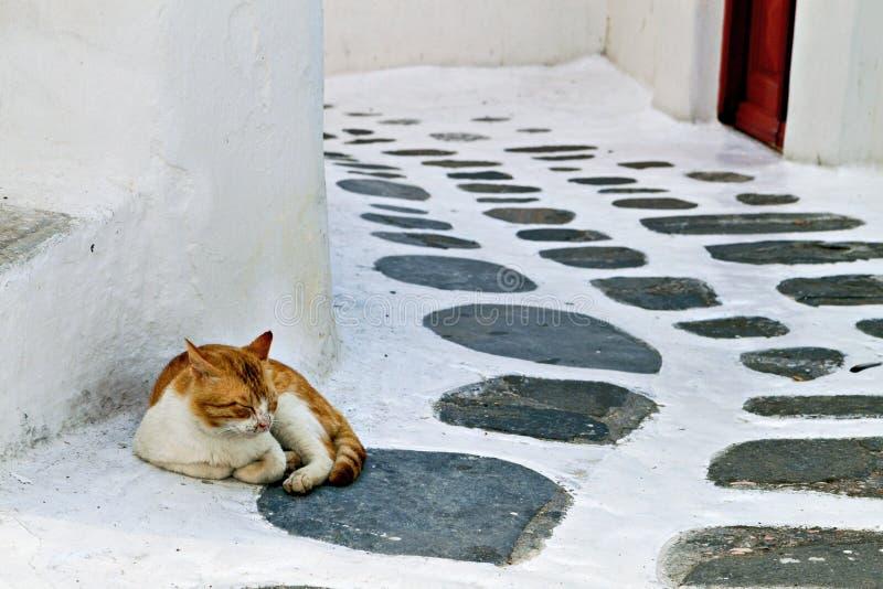 老街道st Mykonos海岛 库存照片
