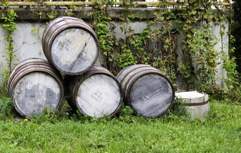 老被堆积的啤酒桶 库存照片