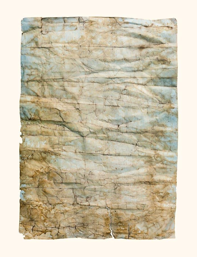 老被弄皱的纸纹理 免版税库存图片