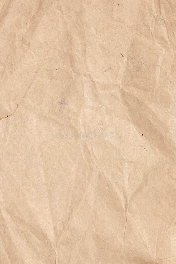 老被弄皱的纸纹理 免版税库存照片