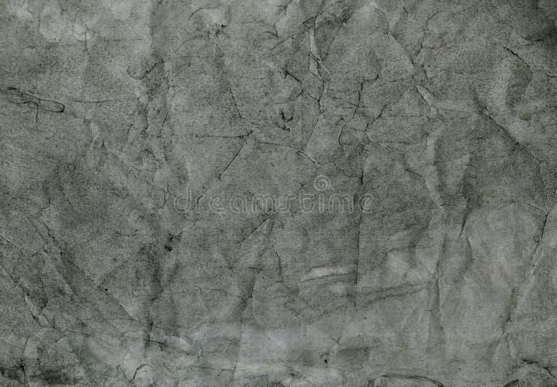 老被弄皱的黑纸,抽象背景,手画纹理 库存图片