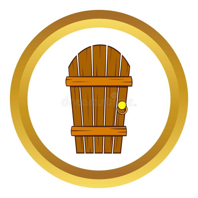 老被成拱形的木门象,动画片样式 皇族释放例证