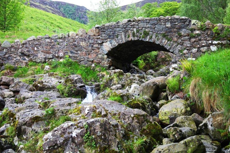 老被成拱形的石桥梁 库存照片