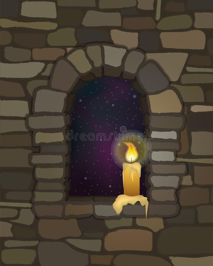 老被成拱形的石窗口在visigothic样式和蜡烛 向量 向量例证