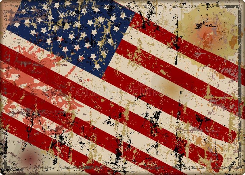 老被打击的脏的美国旗子金属标志,传染媒介例证 库存例证