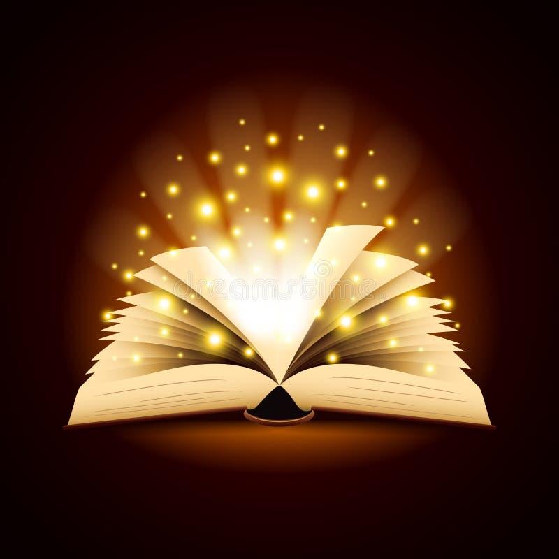 老被打开的书有不可思议的轻的传染媒介背景 向量例证