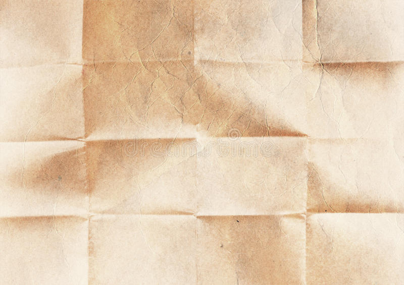 老被折叠的纸纹理 免版税图库摄影