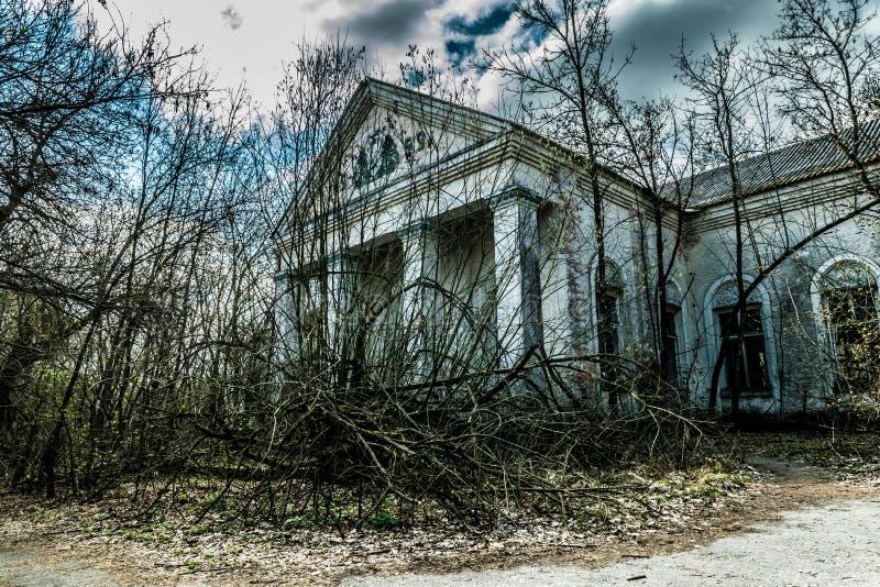 老被放弃的乡间别墅在禁区 切尔诺贝利核事故的后果 图库摄影