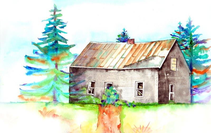 老被放弃的房子 库存例证
