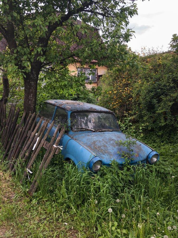 老被放弃的汽车在长得太大的使荒凉的庭院离开 免版税库存图片