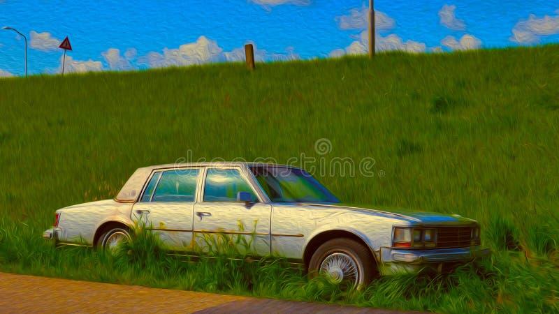老被放弃的汽车 向量例证