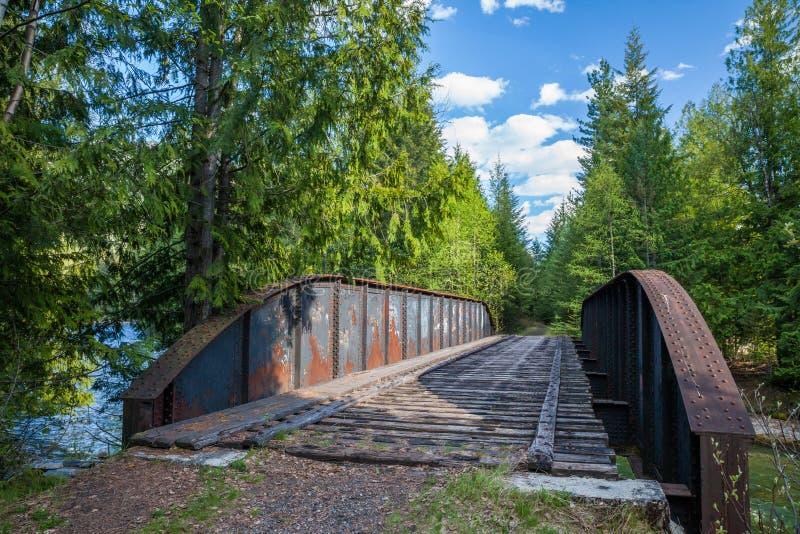 老被放弃的火车叉架桥在不列颠哥伦比亚省 库存照片