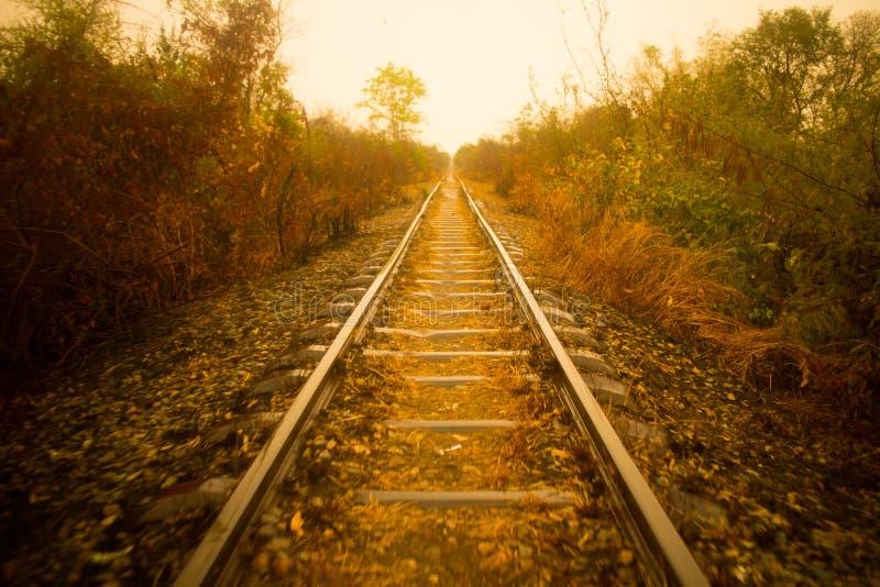 老被放弃的火车轨道 免版税库存图片