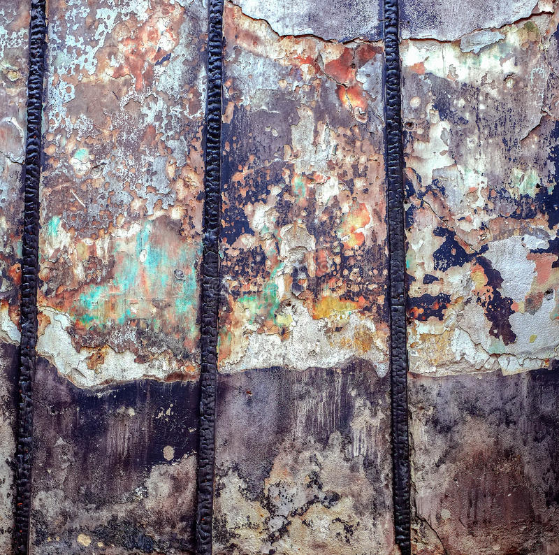 老被放弃的被烧的内墙 库存照片