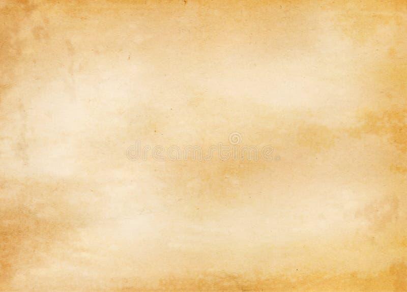 老被染黄的和被弄脏的纸纹理 免版税库存图片