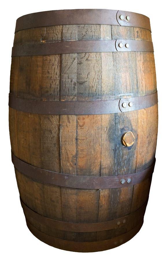 老被隔绝的葡萄酒木威士忌酒桶 库存图片