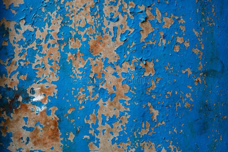 老被绘的蓝色织地不很细脏的墙壁 图库摄影