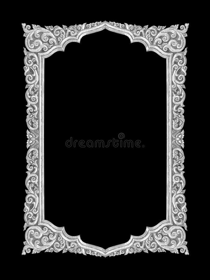 老装饰银色框架-手工制造,刻记-隔绝在b 库存图片
