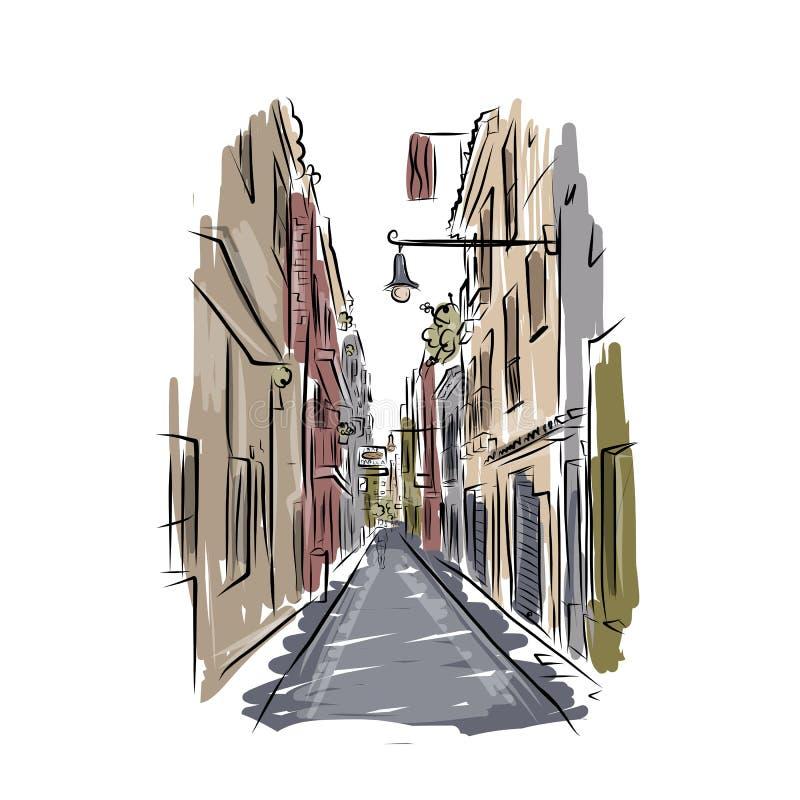 老西班牙街道剪影您的设计的 皇族释放例证