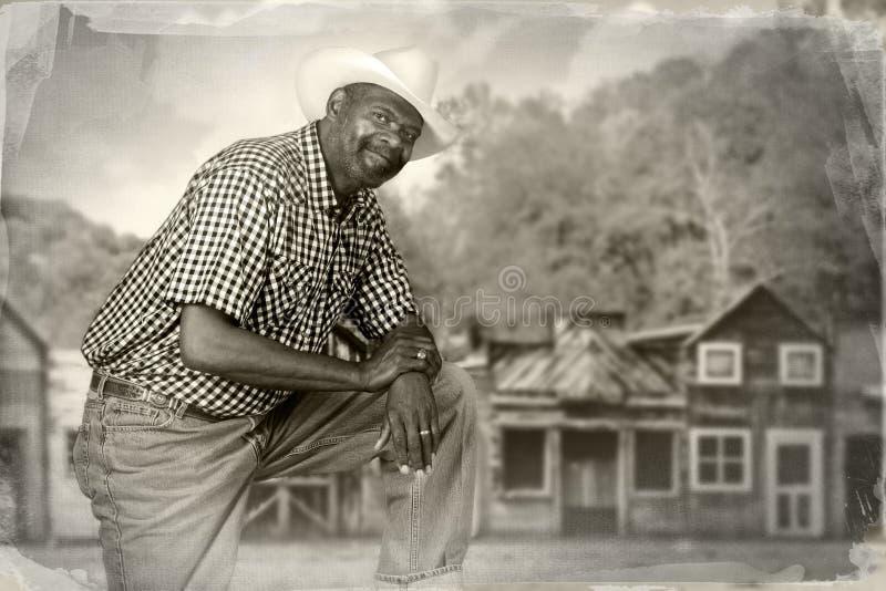 老西部的黑人牛仔 免版税库存图片